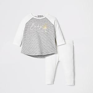 Ensemble avec t-shirt «baby bee» crème côtelé pour bébé