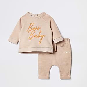 Ensemble avec sweat marron brodé pour bébé