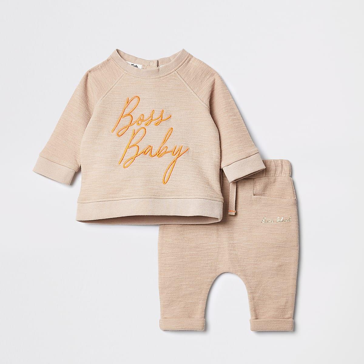 Bruine outfit met geborduurd sweatshirt voor baby's