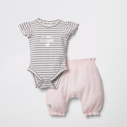 Baby pink stripe baby grow trouser outfit