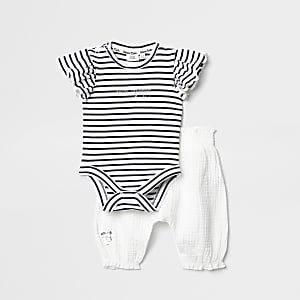 Ensemble pantalon et grenouillère rayée blanche pour bébé