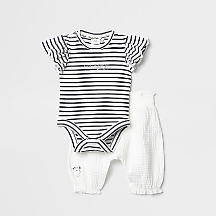 Baby white stripe baby grow trouser outfit