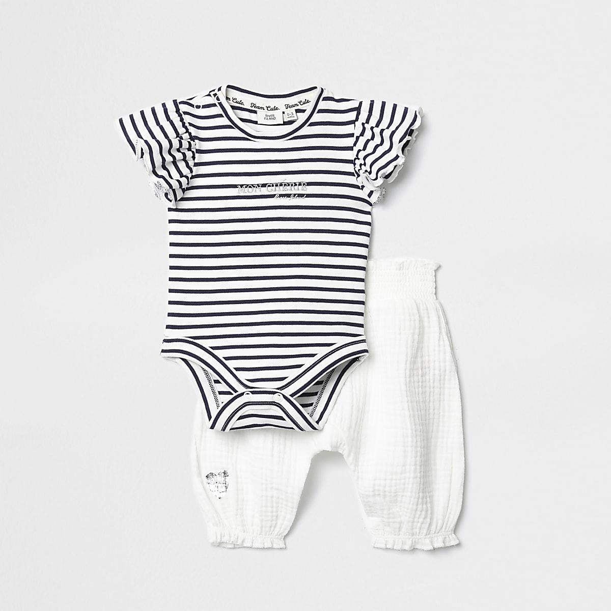 Outfit met witte gestreepte babygrow broek voor baby's