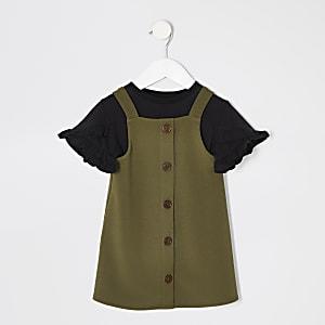 Ensemble avec robe chasuble kaki mini fille