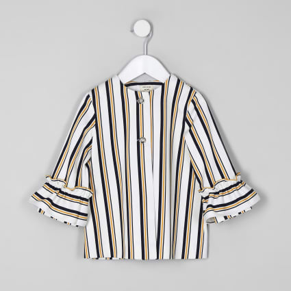 Mini girls navy stripe frill jacket