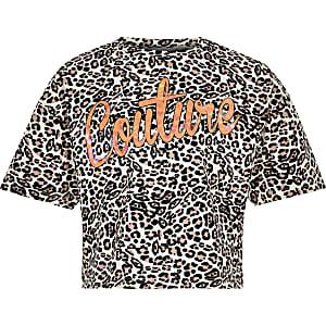 Bruine top met 'couture'- en luipaardprint voor meisjes