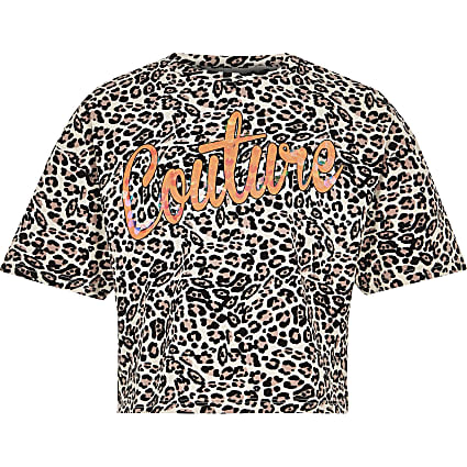 Girls brown 'couture' leopard print top