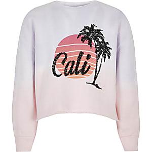 Roze sweatshirt met 'Cali'- en zonsondergangprint voor meisjes