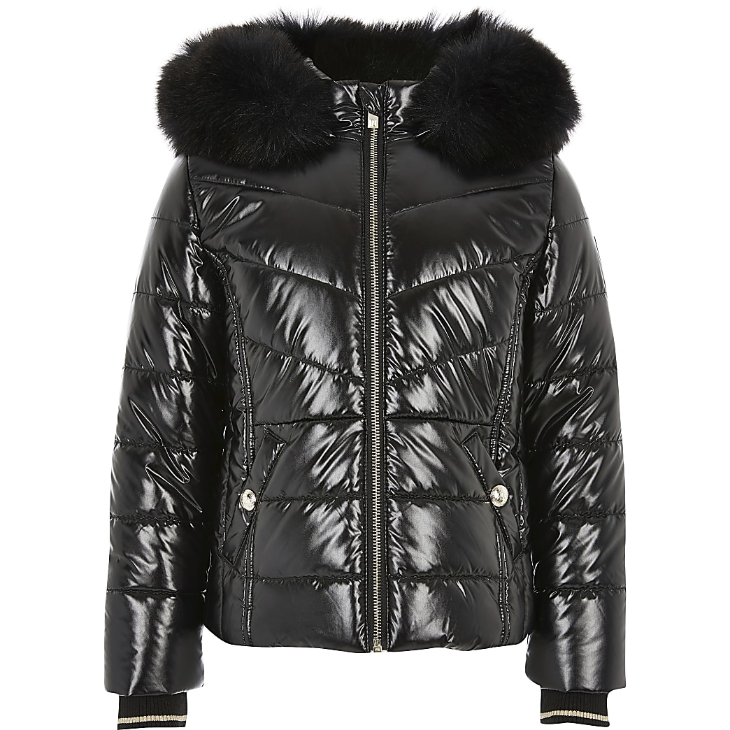 Girls black high shine padded coat