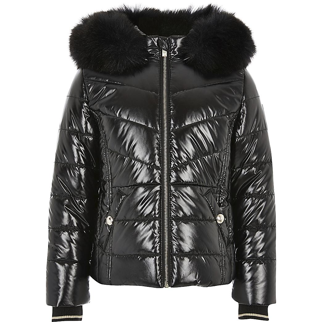 Hoogglanzende gewatteerde zwarte jas voor meisjes