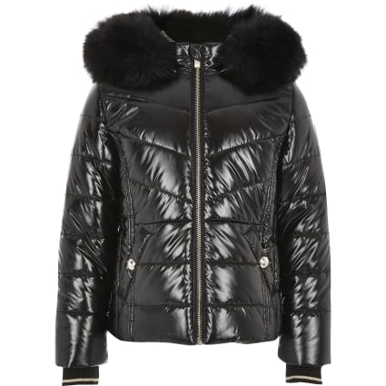 Girls black high shine padded coat