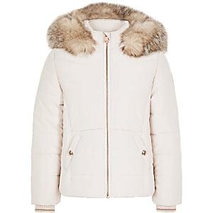 Manteau rembourré rose à bordure en fausse fourrure pour fille