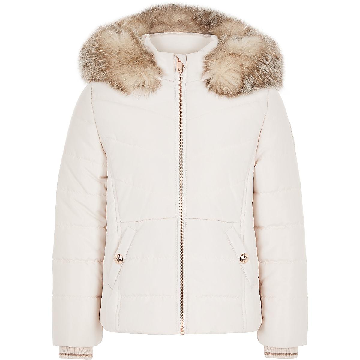 Girls pink faux fur trim padded coat