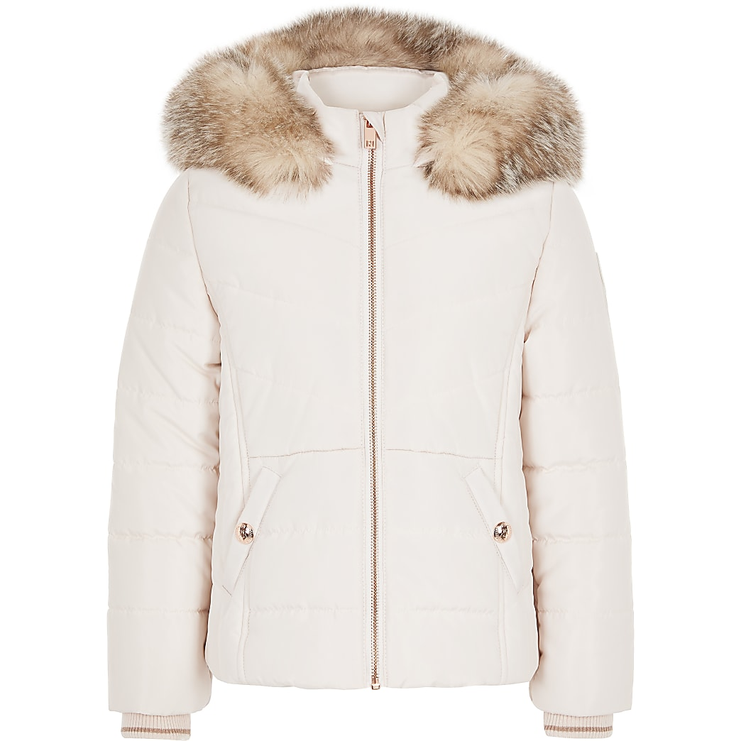 Girls pink faux fur trim padded coat