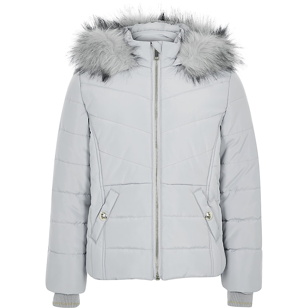 Girls grey faux fur hood padded jacket