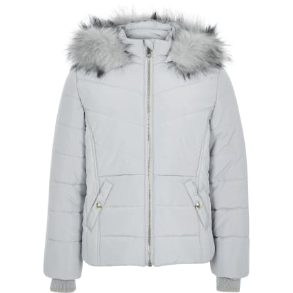 Girls grey faux fur hood padded jacket