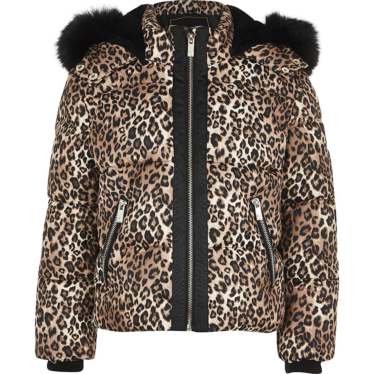 Bruine gewatteerde jas met luipaardprint en bont voor meisjes