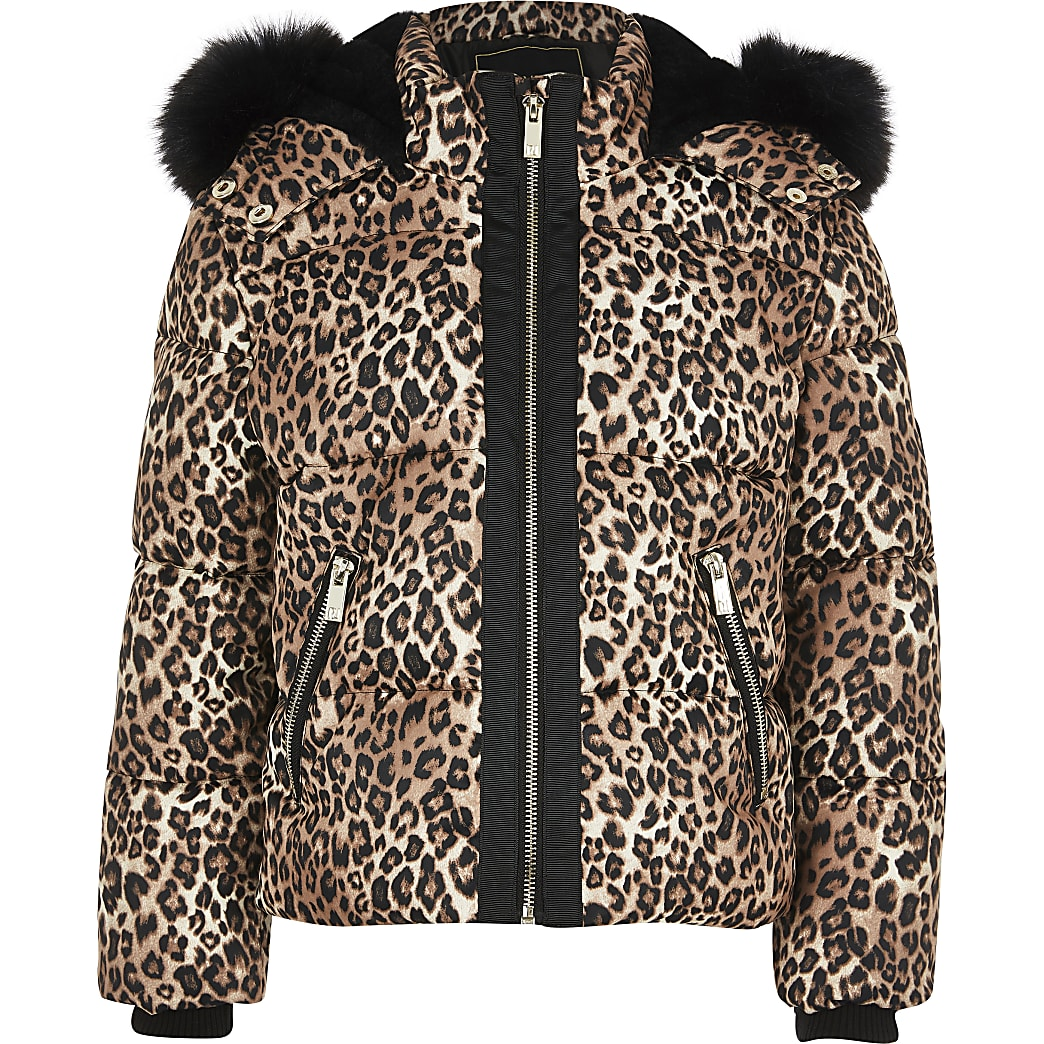 Girls brown leopard faux fur padded jacket