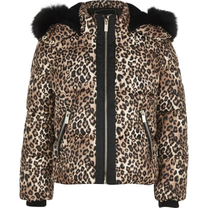 Girls brown leopard faux fur padded jacket
