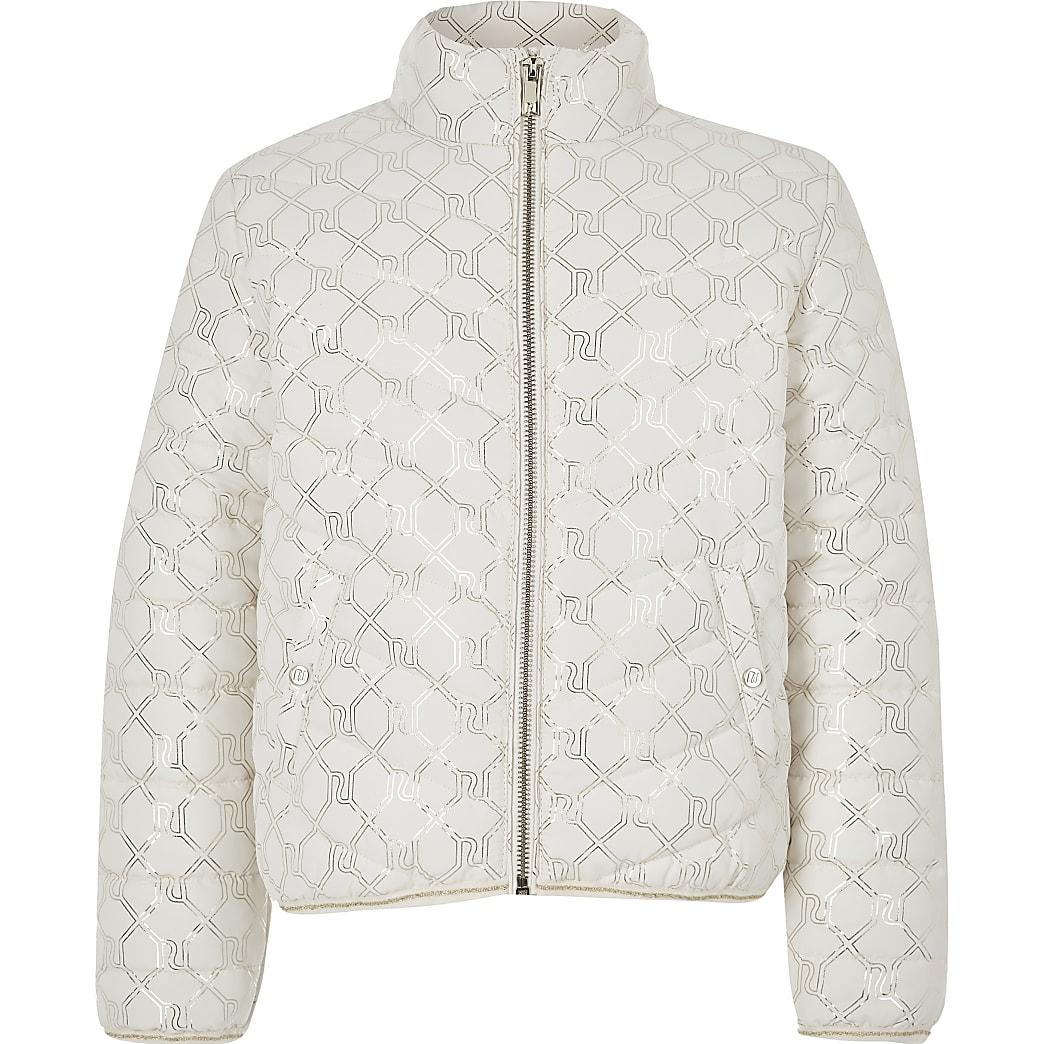 Girls cream RI monogram puffer jacket