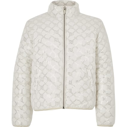 Girls cream RI monogram puffer jacket