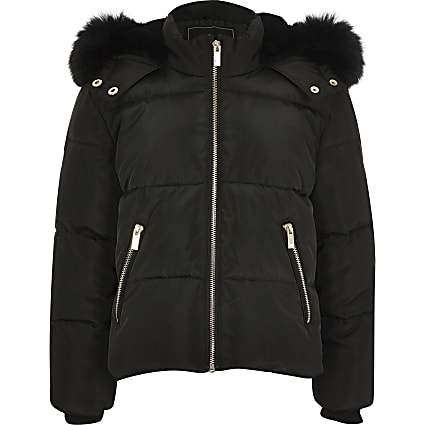 Girls black faux fur hooded padded coat