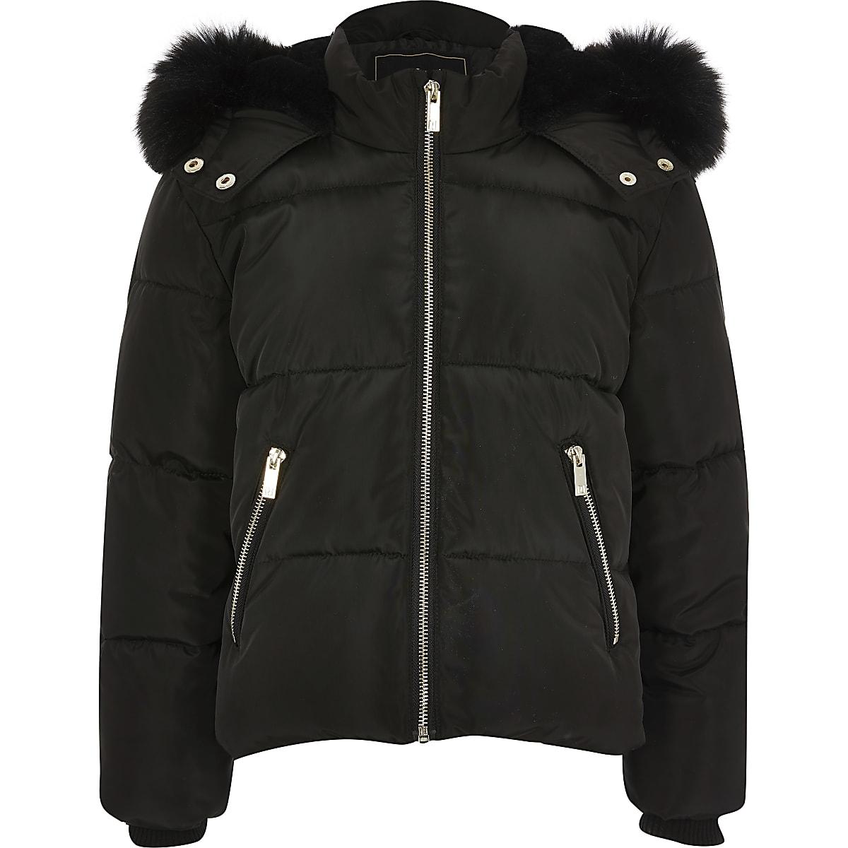 Zwarte gewatteerde jas met capuchon van imitatiebont voor meisjes