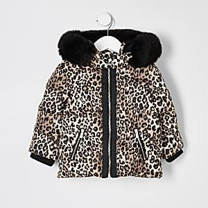 Mini - Bruine gewatteerde jas met luipaardprint voor meisjes