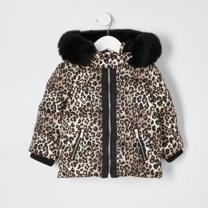 Mini girls brown leopard print padded coat