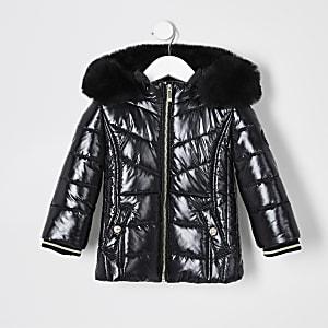 Mini - Zwarte gewatteerde jas met zoom van imitatiebont voor meisjes