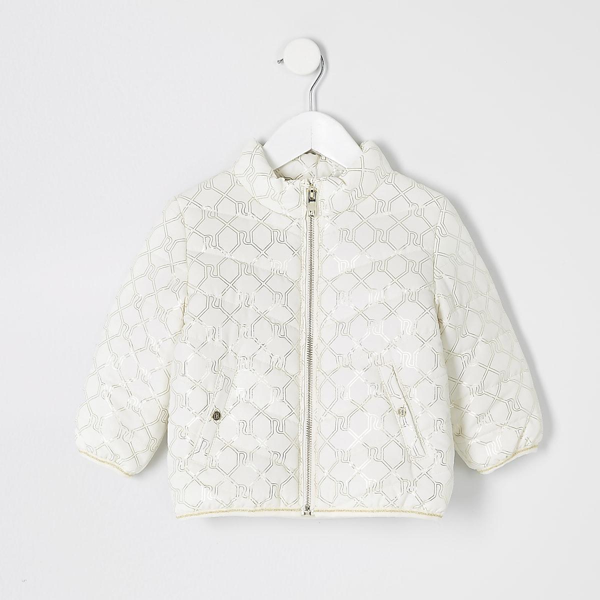 Mini - Crème gewatteerde jas met RI-monogram voor meisjes