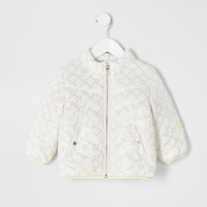 Mini girls cream RI monogram padded coat
