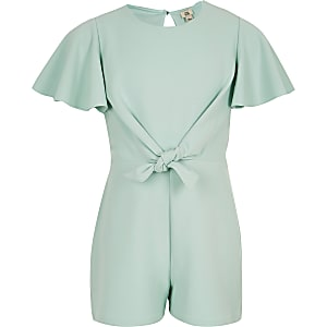 Girls green tie front romper