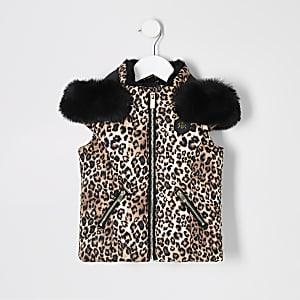 Doudoune sans manches à imprimé léopard avec capuche pour mini fille