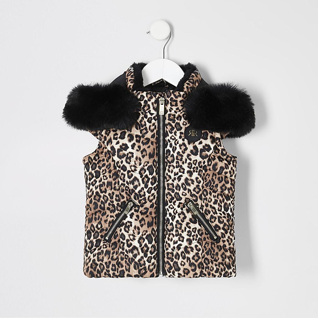 Mini girls leopard print hooded gilet