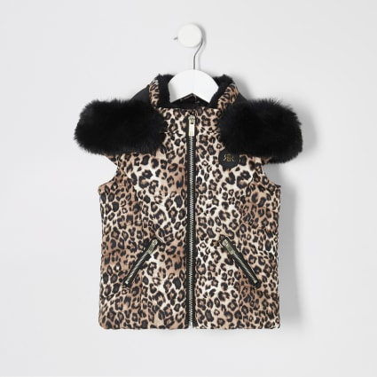 Mini girls leopard print hooded gilet