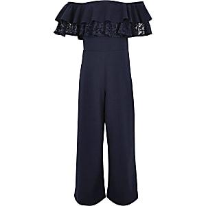 Marineblauwe jumpsuit in bardotstijl met ruches en kant voor meisjes