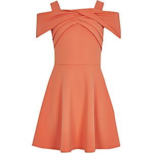 Girls coral bow bardot skater dress