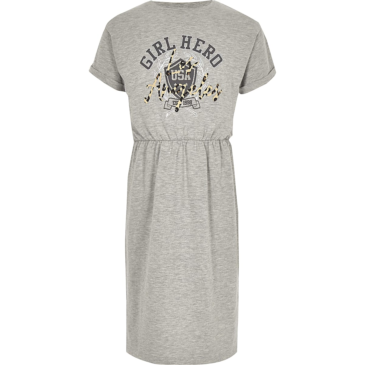 Girls grey 'Girl hero' T-shirt midi dress