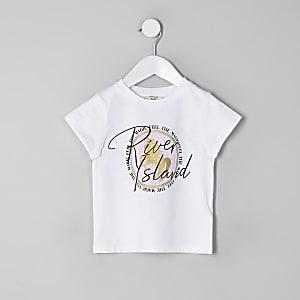 T-shirt blanc avec imprimé licorne RI mini fille