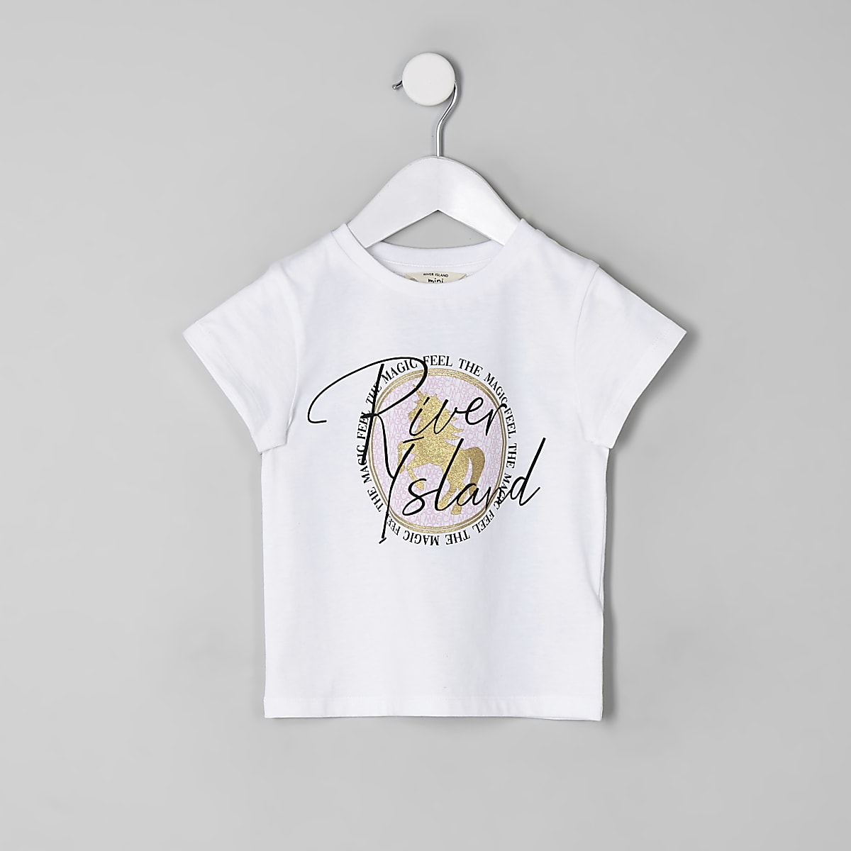 Mini girls white RI unicorn T-shirt