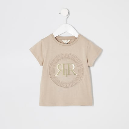 Mini girls beige RI embossed T-shirt