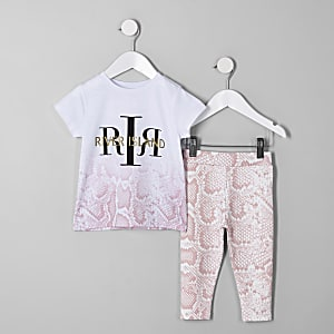 Mini girls pink snake print T-shirt outfit