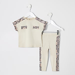 Mini girls beige snake print T-shirt outfit