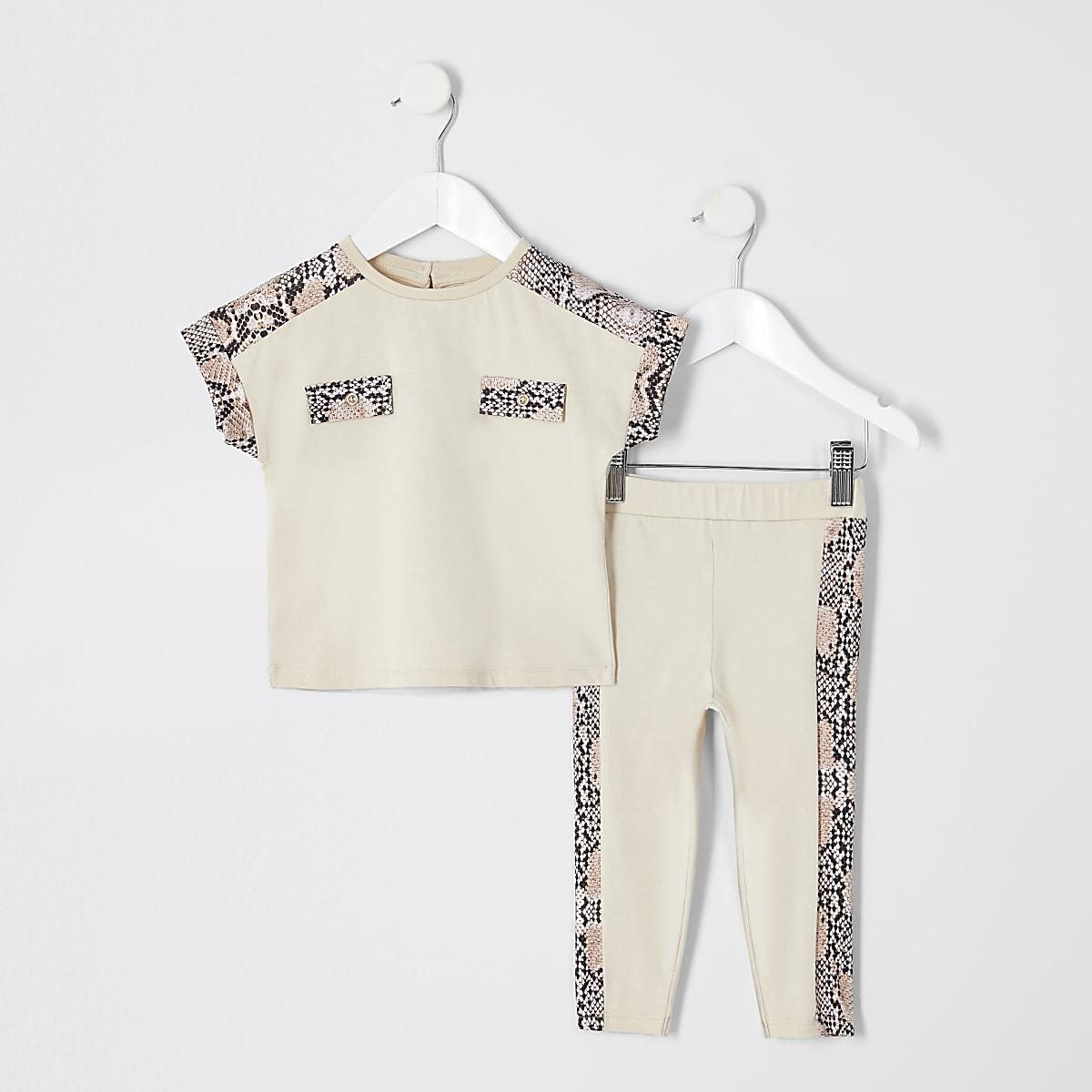 Mini - Outfit met beige T-shirt met slangenprint voor meisjes