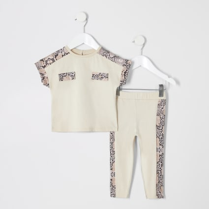 Mini girls beige snake print T-shirt outfit