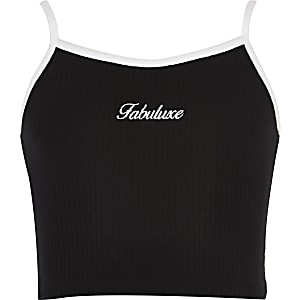 Girls black embroidered crop top