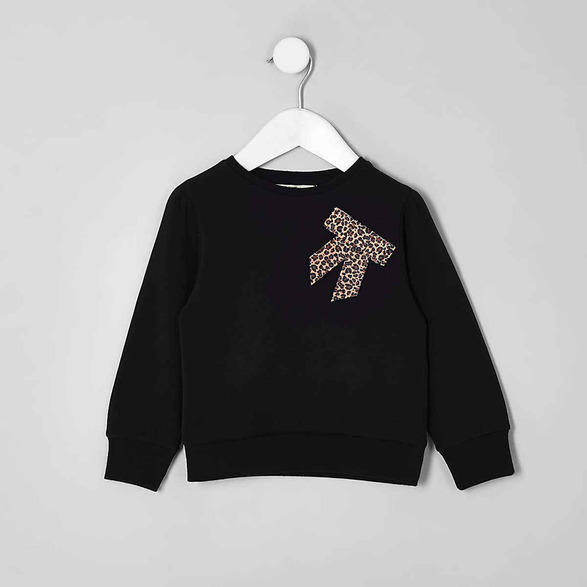 Mini girls black leopard bow sweatshirt