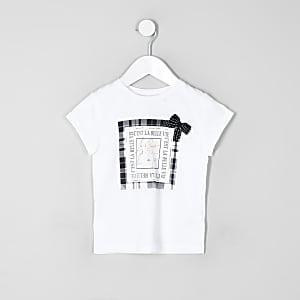 Mini girls white check bow T-shirt