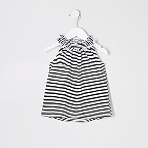 Mini girls black stripe trapeze top